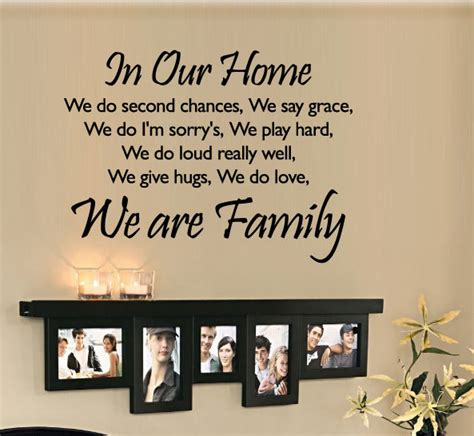 in our home we do second chances we are family wall quote
