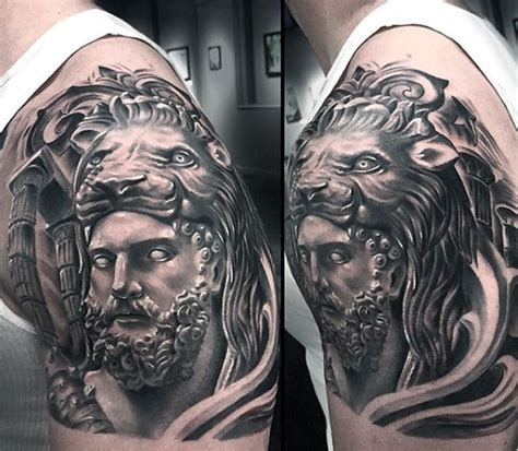hercules tattoo designs guys shaded half sleeve hercules lionskin half