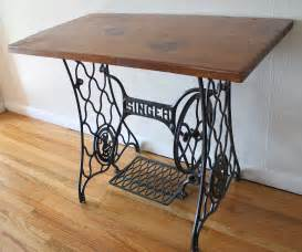 antique singer sewing machine iron table base with wood