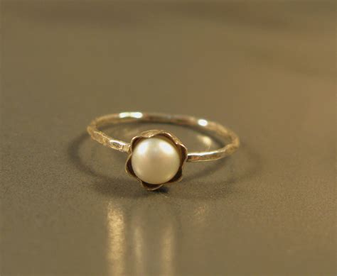 silver pearl ring simple engagement ring fresh water