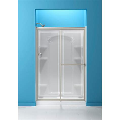 Sterling Glass Shower Doors Sterling 48 7 8 In X 70 1 4 In Framed Sliding Shower Door In Nickel With Templar Glass Pattern