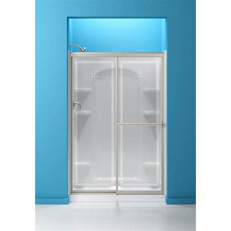 Sterling Glass Shower Doors by Sterling 48 7 8 In X 70 1 4 In Framed Sliding Shower Door In Nickel With Templar Glass Pattern