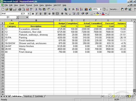 download free jobcost controller for excel jobcost