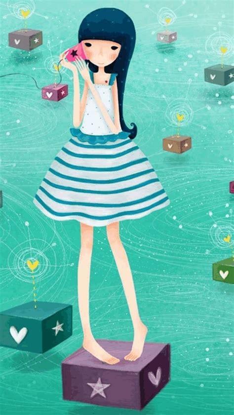 girly girl wallpaper for iphone cartoon girl iphone wallpaper