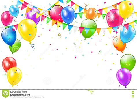 Confetti Dan Work birthday background with balloons and pennants on white stock vector image 75690217