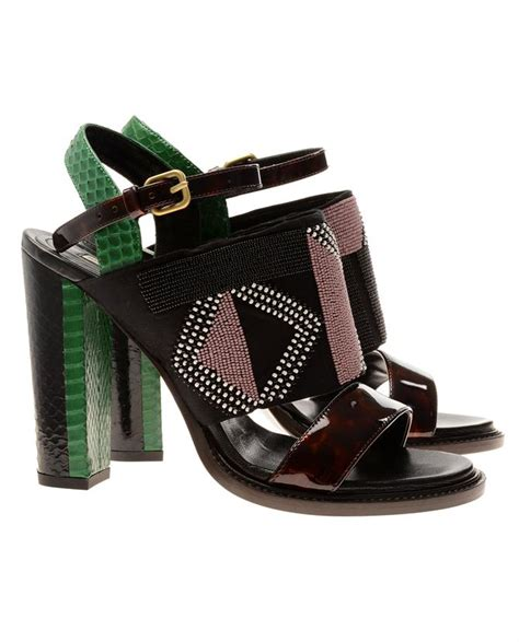 dries noten tribal beaded and snakeskin slingback shoes lyst
