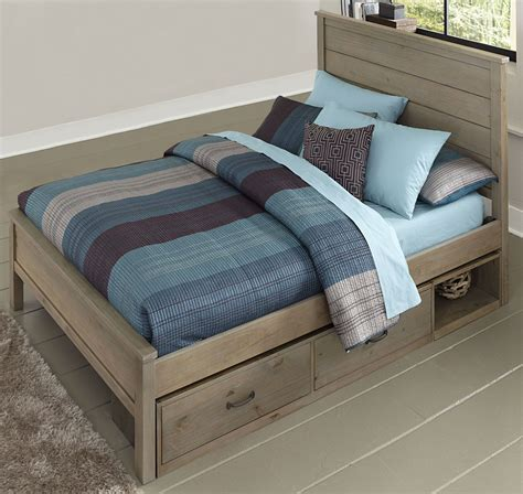full panel bed highlands alex driftwood full panel storage bed 10025ns ne kids