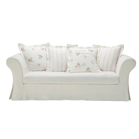 white linen sofa uk white linen sofa seats 3 4 shabby shabby maisons du monde