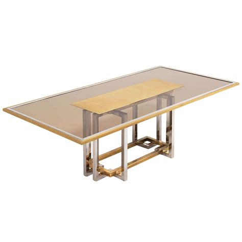 Italian Chrome And Brass Dining Table With Elegant Glass Glass Dining Tables Sale