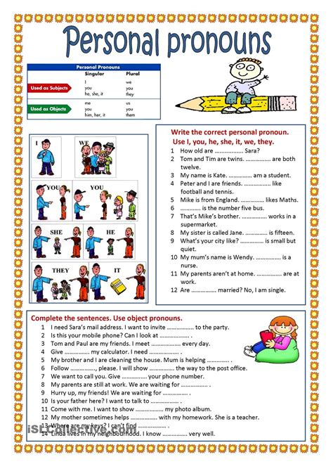 printable worksheets on pronouns personal pronouns learning english pinterest