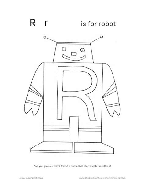 preschool robot coloring pages r is for red the robot with free song and printable