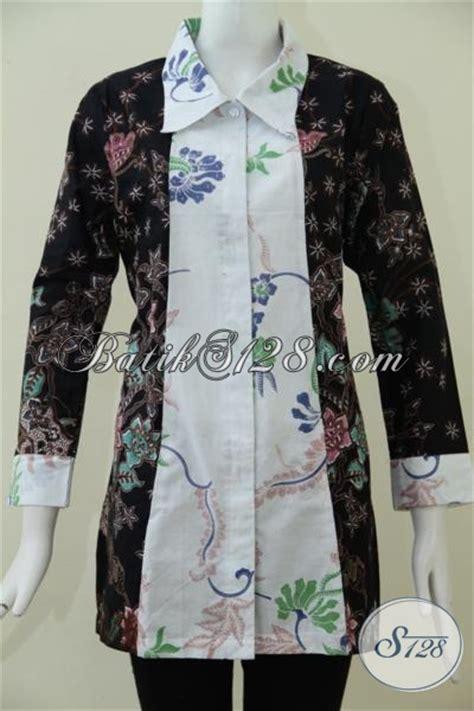 desain gamis hitam putih baju batik wanita desain terkini berpadu dengan kombinasi