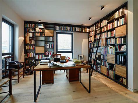arbeitszimmer design penthouse bibliothek regal modern arbeitszimmer
