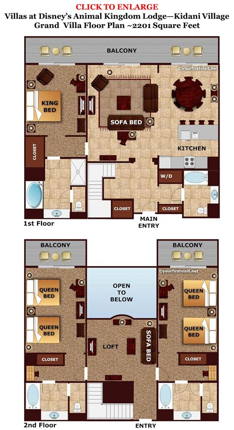 kidani village 2 bedroom villa floor plan accommodations and theming at disney s animal kingdom
