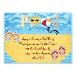 colorful pool 6 5x8 75 paper invitation card zazzle