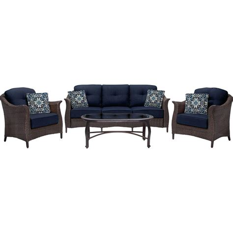 Java Set Navy hanover gramercy 4 all weather wicker patio seating