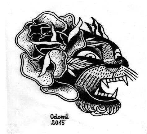 traditional black ink panther and rose in old style