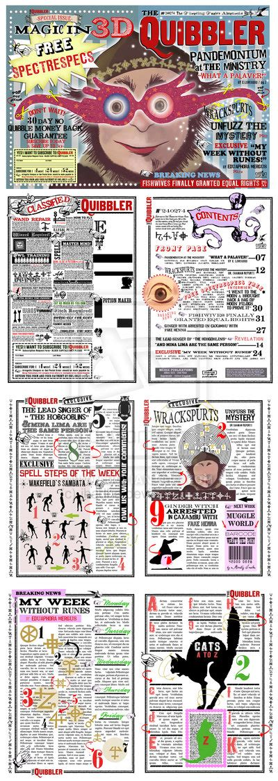 free printable quibbler quibbler pages to go with my glasses and wand totally