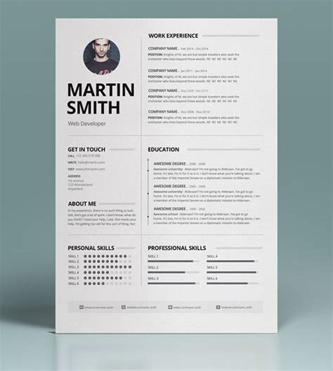 Best Resume Templates In Word 50 best minimal resume templates design graphic design
