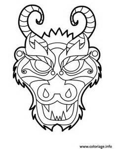coloriage dragon masque tete dessin