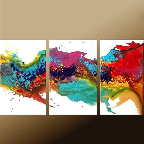 modern art 3pc original abstract modern contemporary art painting by dwo