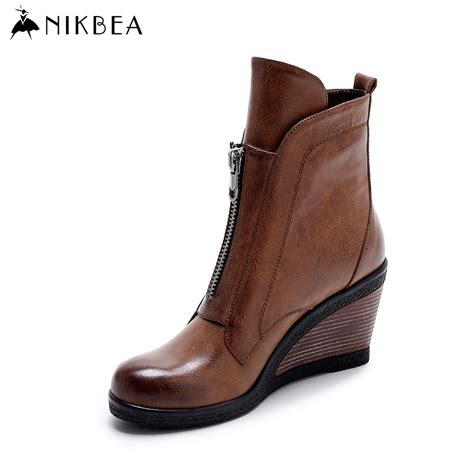aliexpress buy nikbea brown wedges ankle boots