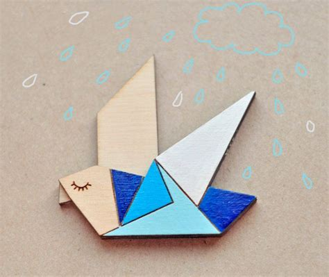 Cutting Origami - wood laser cut brooch blue origami bird