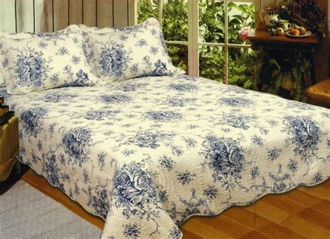 french country blue rose king quilt set cottage