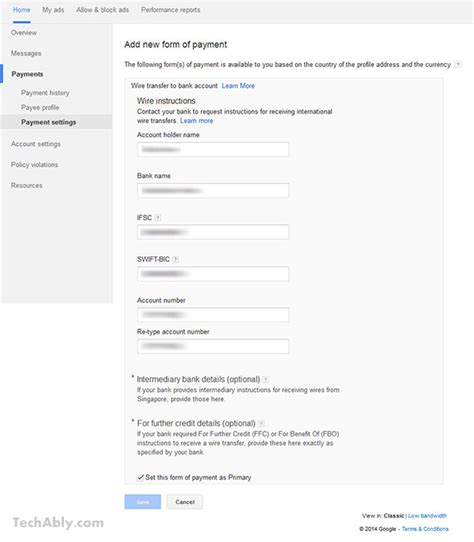 adsense wire transfer sbi receive adsense payments via wire transfer in india
