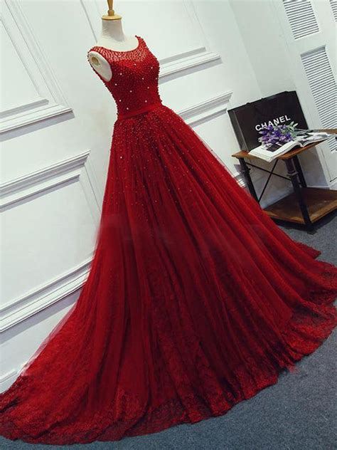 red beading sparkly unique ball gown  neck formal