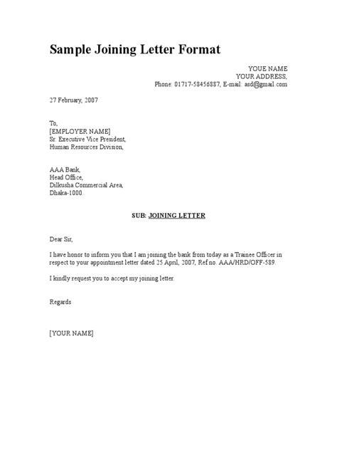 Sle Joining Letter Format Letter Format Exles