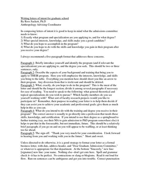 graduate school letter of intent template how to write a letter of intent for college admission
