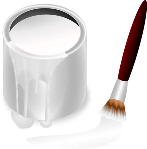 white paint white paint bucket and paint brush clip art at clker com