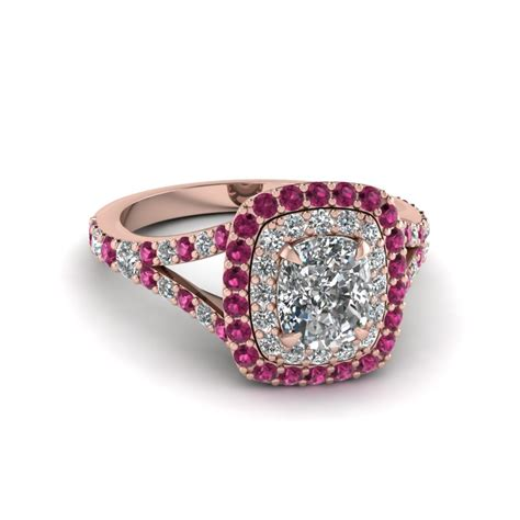 ring cusion cushion cut diamond double halo engagement ring with pink