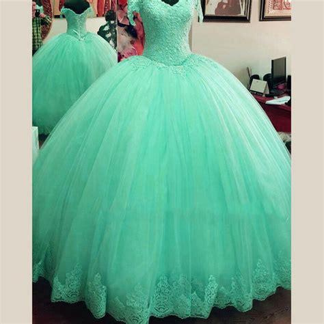 Blue Sky Quinze Dress sweet 16 princess light blue mint green lace quinceanera