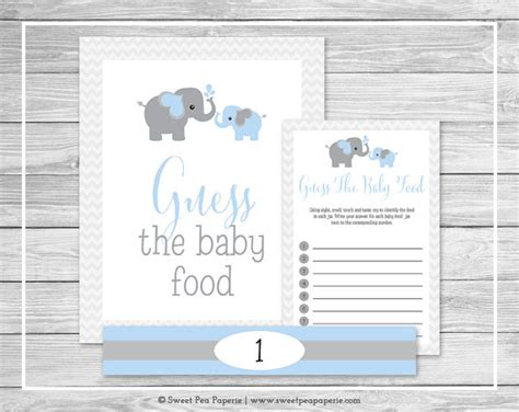 elephant baby shower guess the baby food game printable baby