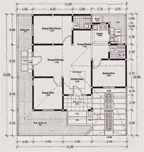gambar denah rumah sederhana 1 lantai 3 kamar tidur desain rumah idaman minimalis