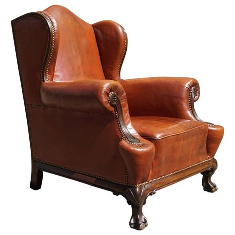 antique wingback chair antique leather chippendale style wingback chair with hand