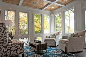 Knotty pine ceiling sunroom traditional with coffered ceiling colorful