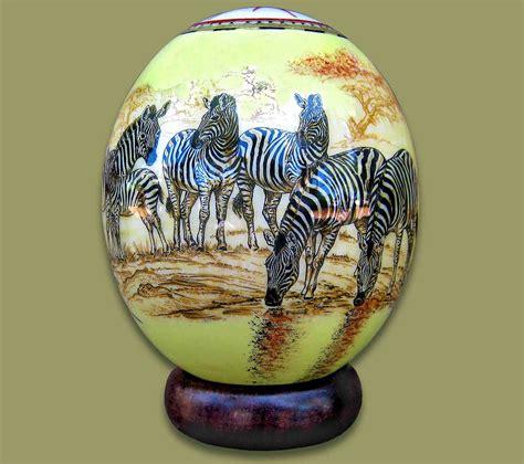 Decoupage Ostrich Eggs - ostrich egg decoupage zebra 1