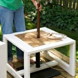Patio Umbrella Stand Side Table by Make A Side Table Umbrella Stand A Freestanding Umbrella