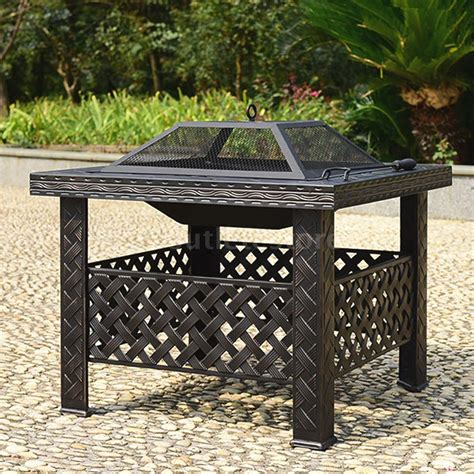 Outdoor Firepit Covers Outdoor Metal Firepit Backyard Patio Garden Square Stove Pit W Cover G2n7 Ebay