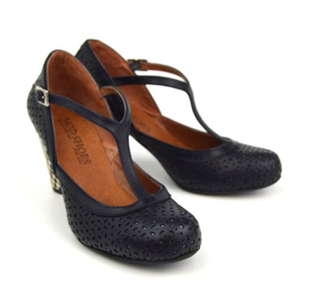 50 s shoes for the miss molly navy leather vintage retro