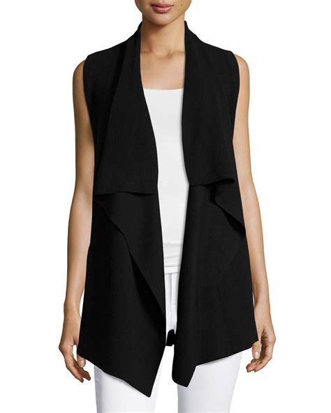 draped sweater vest vince draped open sweater vest in black lyst