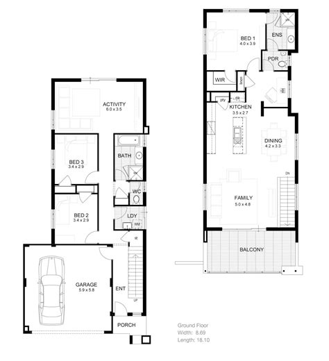 3 bedroom townhouse plans 2 storey