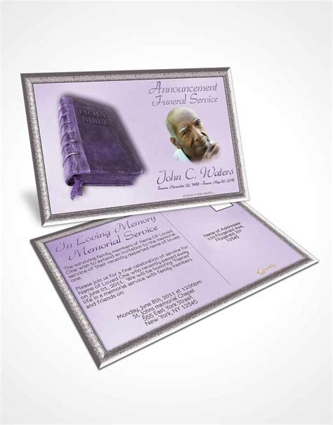 Holy Card Template by Announcement Card Template Holy Bible Lavender Honor