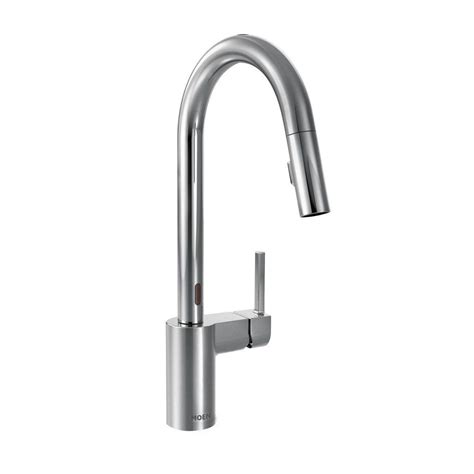 moen motionsense kitchen faucet moen align single handle pull sprayer kitchen faucet with motionsense in chrome 7565ec