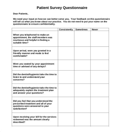 15 Patient Survey Templates Free Sle Exle Format Download Free Premium Templates Patient Experience Survey Template