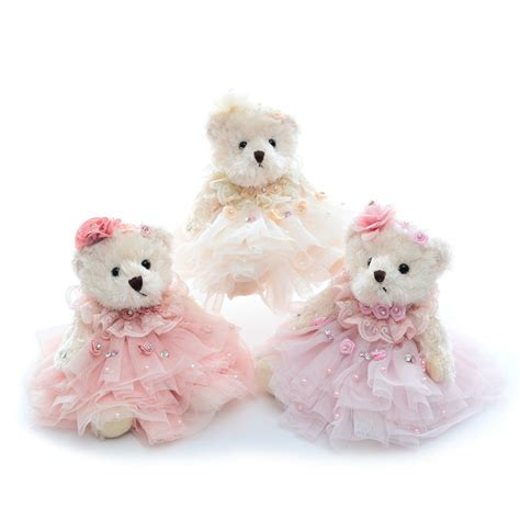 Plush Wedding Teddy Bear Dolls Wearing Lace Dress Stuffed
