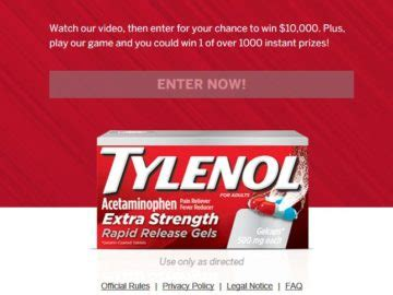 Tylenol Sweepstakes - tylenol rapid release gels instant win and sweepstakes